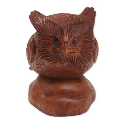 Wood sculpture, 'Midnight Watcher' - Hand Carved Wood Sculpture of an Owl from Indonesia