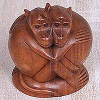 Wood sculpture, 'Loving Monkeys' - Hand Carved Sculpture of Two Monkeys from Indonesia