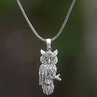 Sterling silver pendant necklace, 'Peaceful Owl' - Sterling Silver Owl Pendant Necklace from Indonesia