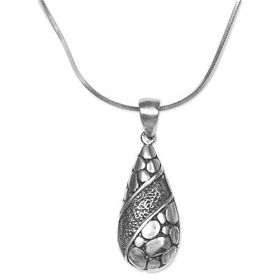 Sterling silver pendant necklace, 'Stone Drop' - Sterling Silver Pendant Necklace from Indonesia