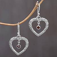 Garnet heart dangle earrings, 'Steal My Heart' - Sterling Silver and Garnet Dangle Earrings from Indonesia