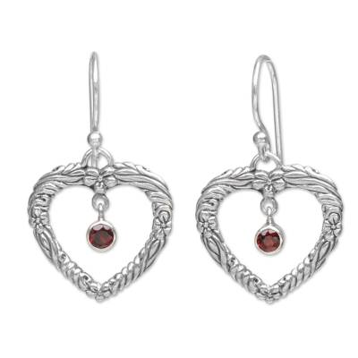 Sterling Silver and Garnet Dangle Earrings from Indonesia