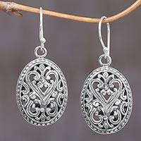 Sterling silver dangle earrings, 'Fern Shield' - Round Sterling Silver Dangle Earrings from Indonesia