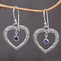 Amethyst heart dangle earrings, 'Steal My Heart' - Amethyst and Sterling Silver Dangle Earrings from Indonesia