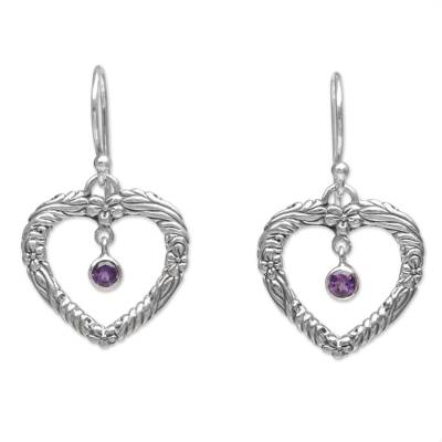 Amethyst and Sterling Silver Dangle Earrings from Indonesia