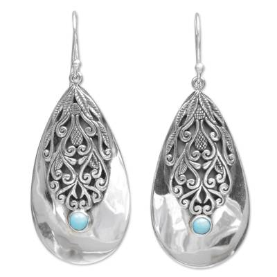 Sterling silver dangle earrings, 'Silver Crest' - Sterling Silver and Reconstituted Turquoise Dangle Earrings