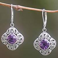 Amethyst dangle earrings, 'Swirling Purple' - Amethyst and Sterling Silver Dangle Earrings from Indonesia