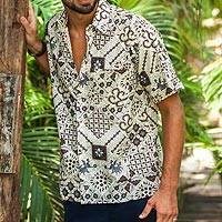 Men's cotton batik shirt, 'Javanese Batik' - Handmade Men's Cotton Batik Shirt with Balinese Motifs