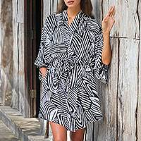 Short rayon robe, 'Black Palm' - Short Rayon Robe in Black and White from Indonesia