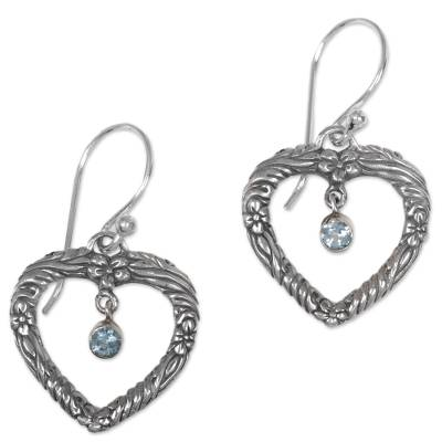 Handmade Blue Topaz and Sterling Silver Dangle Earrings