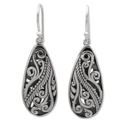 Sterling silver dangle earrings, 'Fern Drops' - Sterling Silver Dangle Earrings Handmade in Indonesia