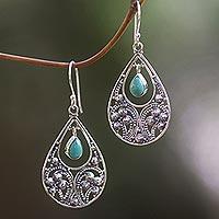 Sterling silver dangle earrings, 'Bali Crest'