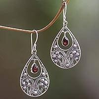 Garnet dangle earrings, 'Bali Crest' - Garnet and Sterling Silver Dangle Earrings from Indonesia