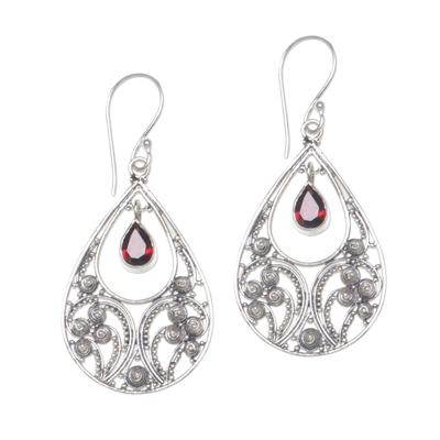 Garnet dangle earrings, 'Bali Crest' - Garnet and Sterling Silver Dangle Earrings from Indonesia