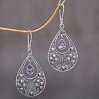 Amethyst dangle earrings, 'Bali Crest' - Amethyst and Sterling Silver Dangle Earrings