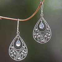 Blue topaz dangle earrings, 'Bali Crest' - Sterling Silver and Blue Topaz Dangle Earrings