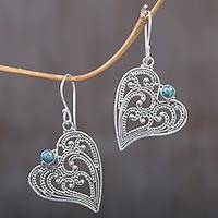 Sterling silver dangle earrings, 'Leaf Heart'