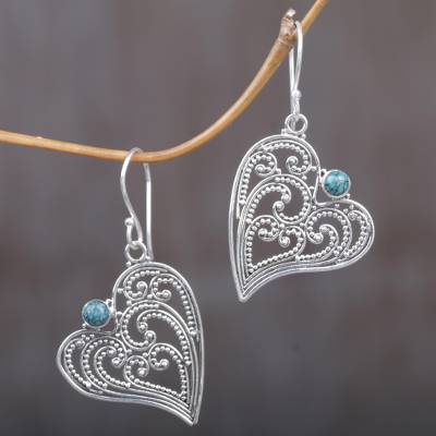 Sterling silver dangle earrings, 'Leaf Heart' - Sterling Silver and Reconstituted Turquoise Dangle Earrings