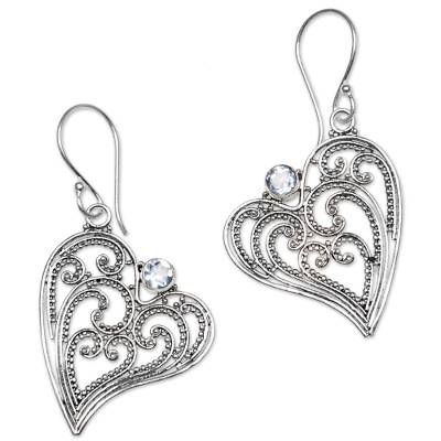 Blue Topaz and Sterling Silver Heart Shaped Dangle Earrings
