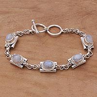 Rainbow moonstone link bracelet, 'Misty Domes' - Rainbow Moonstone Link Bracelet by Balinese Artisans