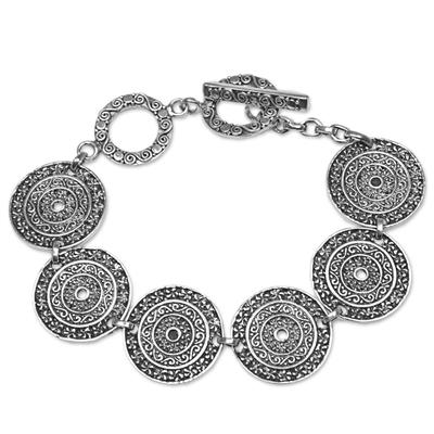 Sterling Silver Handcrafted Disc Link Bracelet