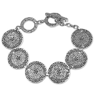 Sterling silver link bracelet, 'Sacred Petals' - Sterling Silver Handcrafted Disc Link Bracelet