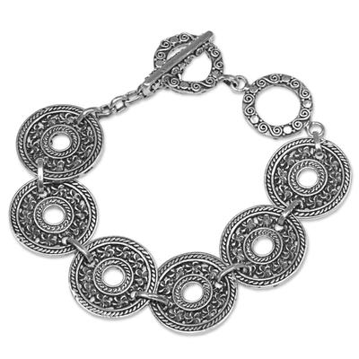 Sterling silver link bracelet, 'Jepun Coin' - Hand Made 925 Sterling Silver Link Bracelet Indonesia