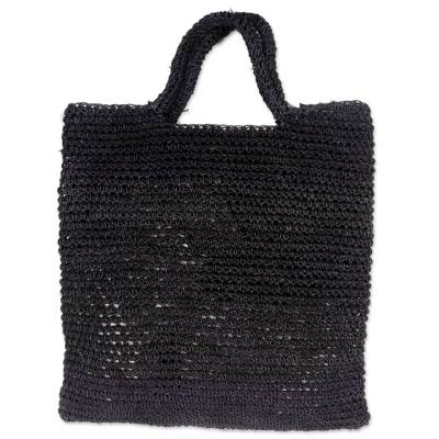 Handmade Woven Natural Fibers Grey Tote Bag from Indonesia
