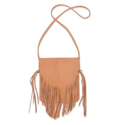 Handcrafted Leather Sling Handbag in Caramel from Bali