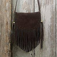Featured review for Suede fringe shoulder bag, Espresso Mischief
