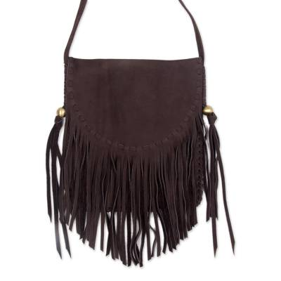 Bohemian Style Espresso Brown Suede Fringe Shoulder Bag