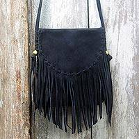 Suede shoulder bag, 'Midnight Mischief' - Black Suede Shoulder Bag with Fringe and Magnetic Closure