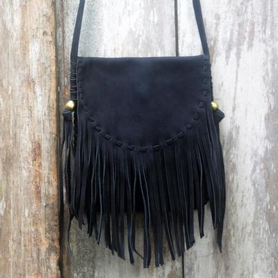 Black Suede Shoulder Bag With Fringe