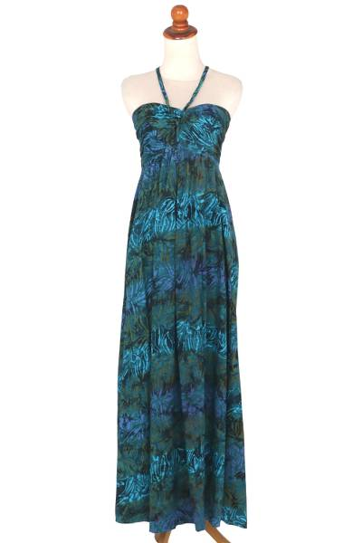 Batik Green Blue Floral Rayon Maxi Dress from Indonesia