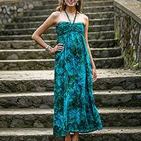 Rayon batik maxi dress, 'Java Emerald' - Batik Rayon Tropical Maxi Dress Made in Indonesia