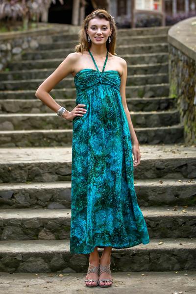 Rayon batik maxi dress, 'Java Emerald' - Batik Rayon Tropical Maxi Dress Made in Indonesia