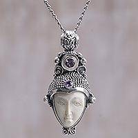 Amethyst pendant necklace, 'Singasari Knight' - Amethyst and Bone Face Pendant Necklace from Indonesia