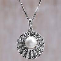 Cultured mabe pearl pendant necklace, 'Wavy Shell' - Cultured Mabe Pearl Textured Pendant Necklace from Indonesia