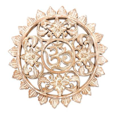 Wood relief panel, 'Blossoming Om' - Hand Carved White Om Wood Wall Decor from Indonesia Artisan