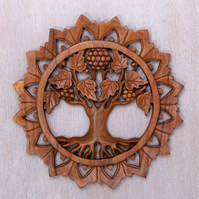 Wood Relief Panel Life Tree Decorative Hand Carved Wall