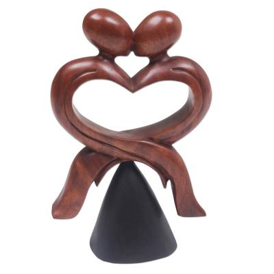 Wood sculpture, 'Mountaintop Kiss' - Hand Carved Wood Sculpture of Lovers Kiss made in Indonesia