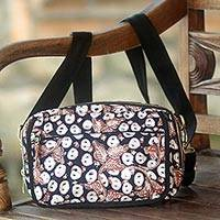 Cotton batik shoulder bag and waist pack, 'Copper Stalk' - Handmade Cotton Shoulder Bag with Batik Pattern