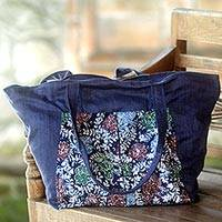 Cotton batik tote bag, 'Gleeful Garden' - Handmade Navy Cotton Batik Tote Bag from Indonesia