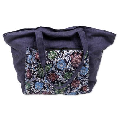 Handmade Navy Cotton Batik Tote Bag from Indonesia