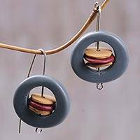 Polymer clay drop earrings, 'Planetized' - Handmade Polymer and Resin Drop Earrings from Indonesia