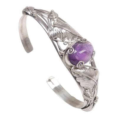 Artisan Crafted Sterling Silver and Amethyst Cuff Bracelet