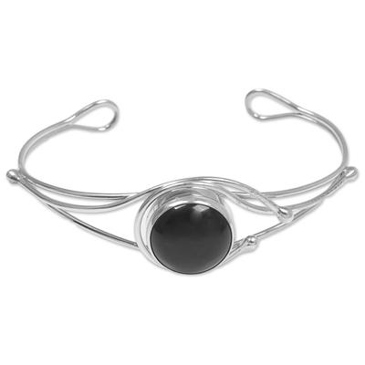 Fair Trade Sterling Silver Black Onyx Minimalist Cuff Bracelet
