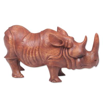 Wood sculpture, 'Java Rhino' - Hand Carved Wood Sculpture of a Rhinoceros from Indonesia
