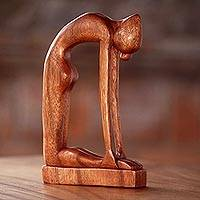 Wood sculpture, 'Camel Pose' - Indonesian Hand-Carved Signed Wood Tabletop Yoga Sculpture