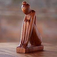 Wood sculpture, 'Shy Girl' - Indonesian Hand-Carved Signed Wooden Sculpture of Female